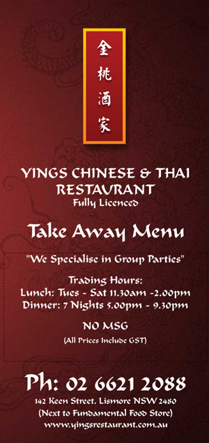 Chinese And Thai Food Menu  Yings Chinese And Thai Restaurant